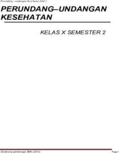 Perundang undangan Kesehatan 2 Kelas 10 SMK
