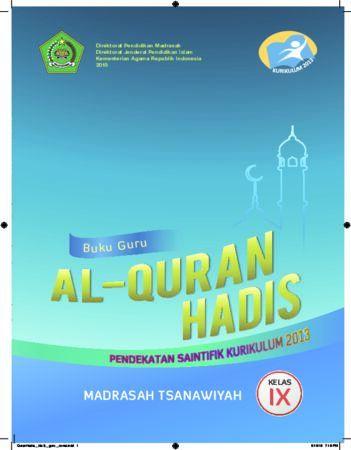 Buku Guru Al-Quran Hadis Kelas 9 Revisi 2016