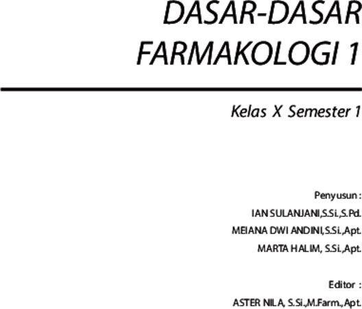 Dasar Dasar Farmakologi 1 Kelas 10 SMK